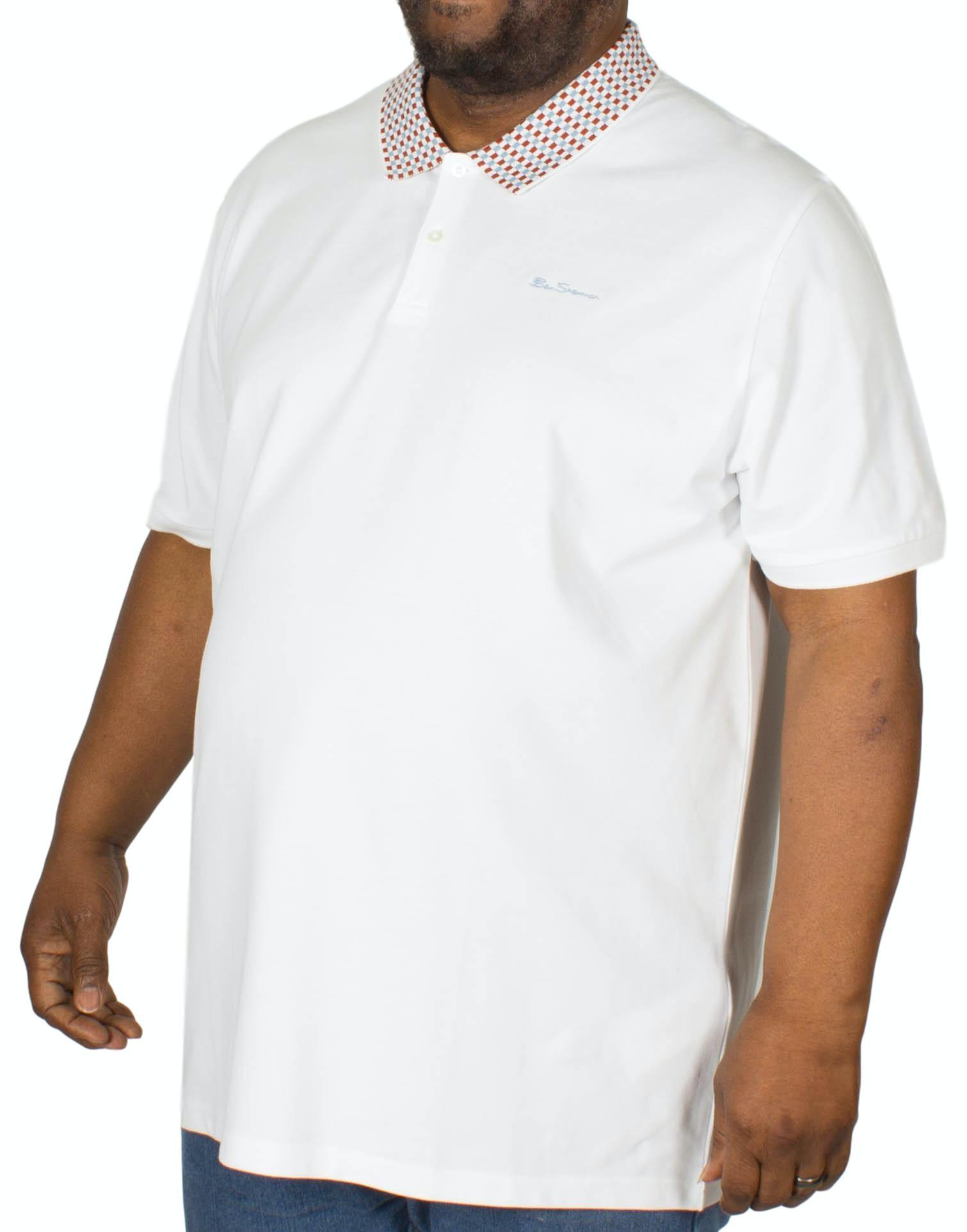 Ben Sherman Chequerboard Jacquard Polo Shirt White