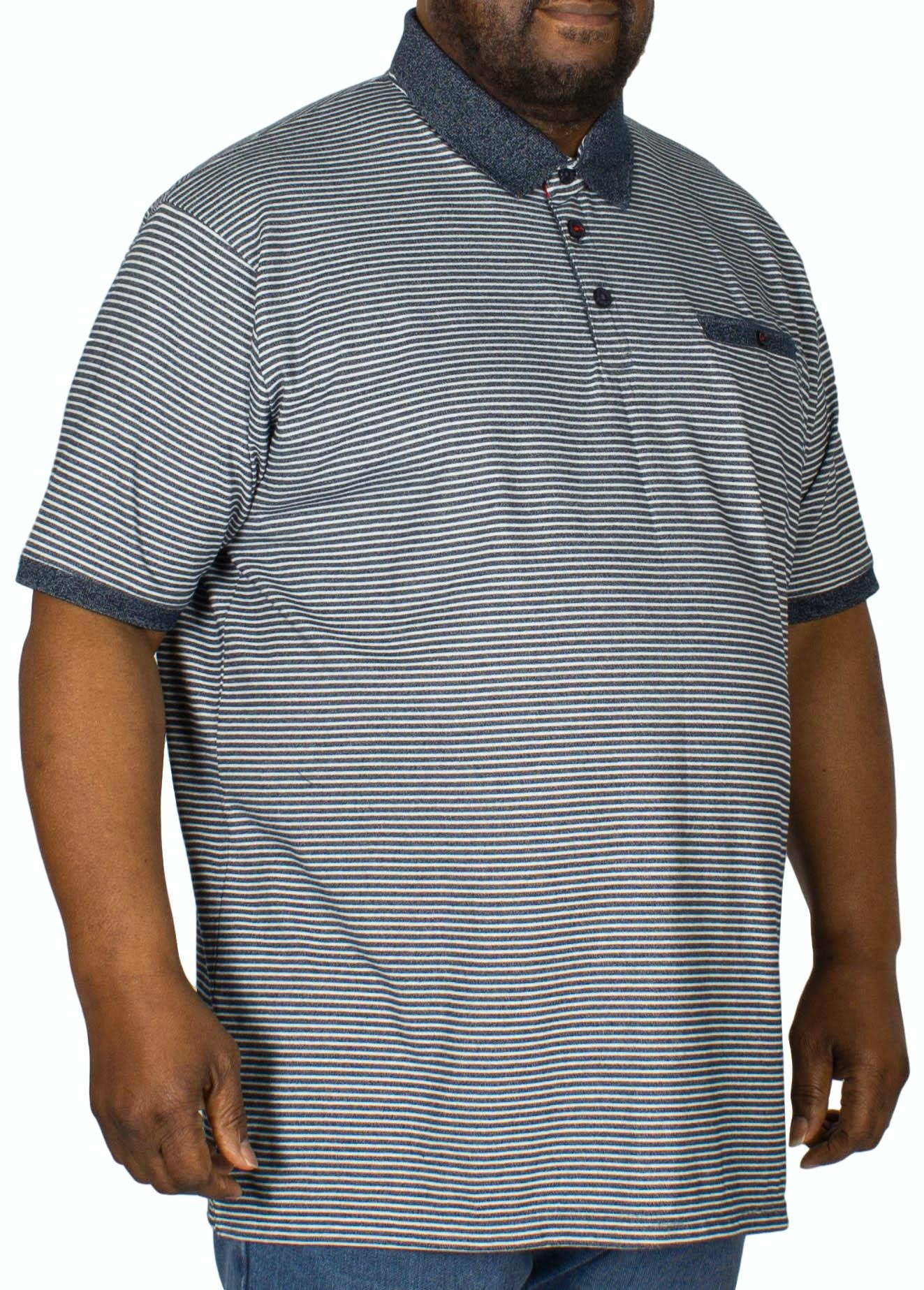 D555 Tyrone Stripe Polo Shirt Denim
