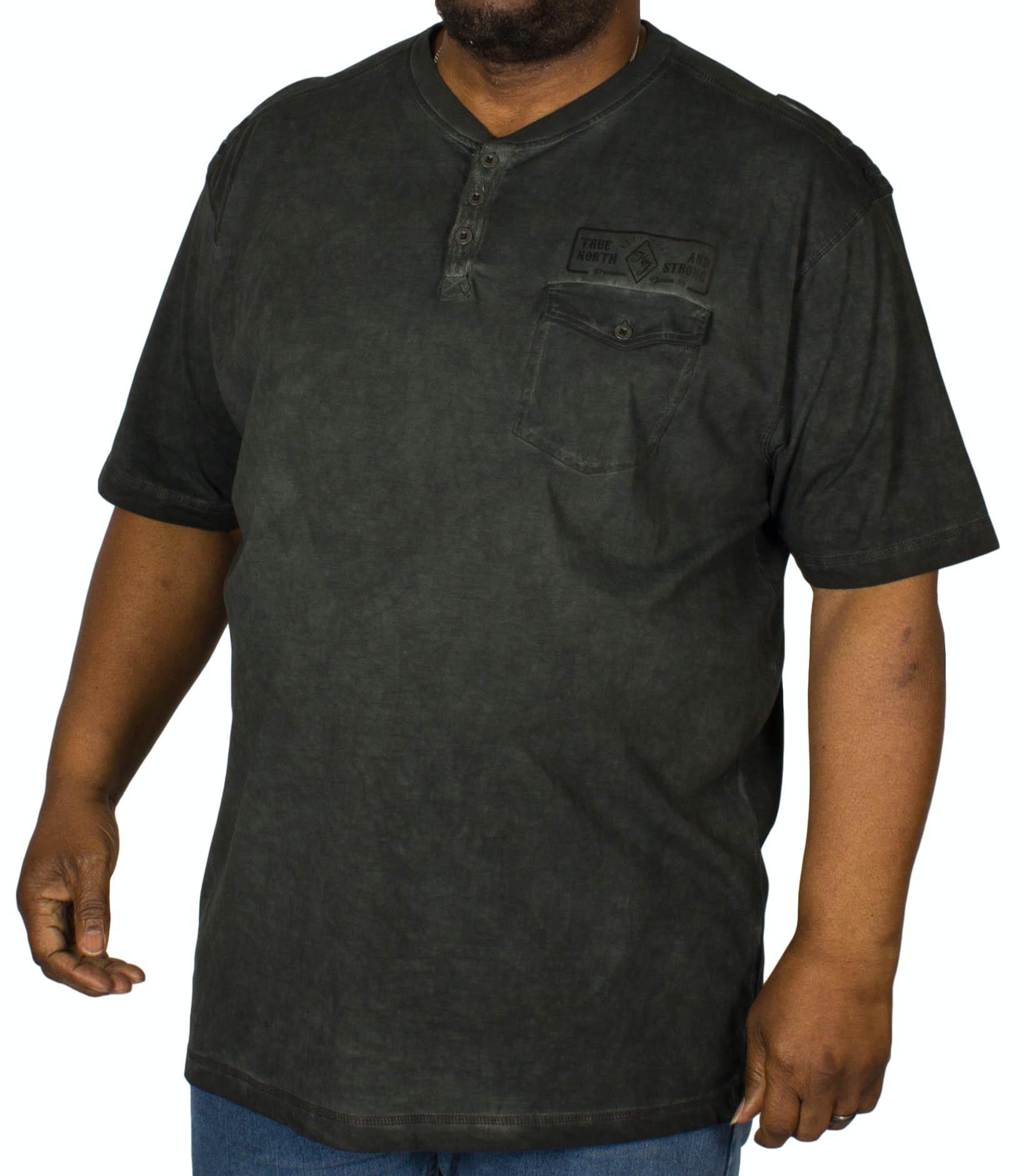 KAM Button Acid Wash T-Shirt Black