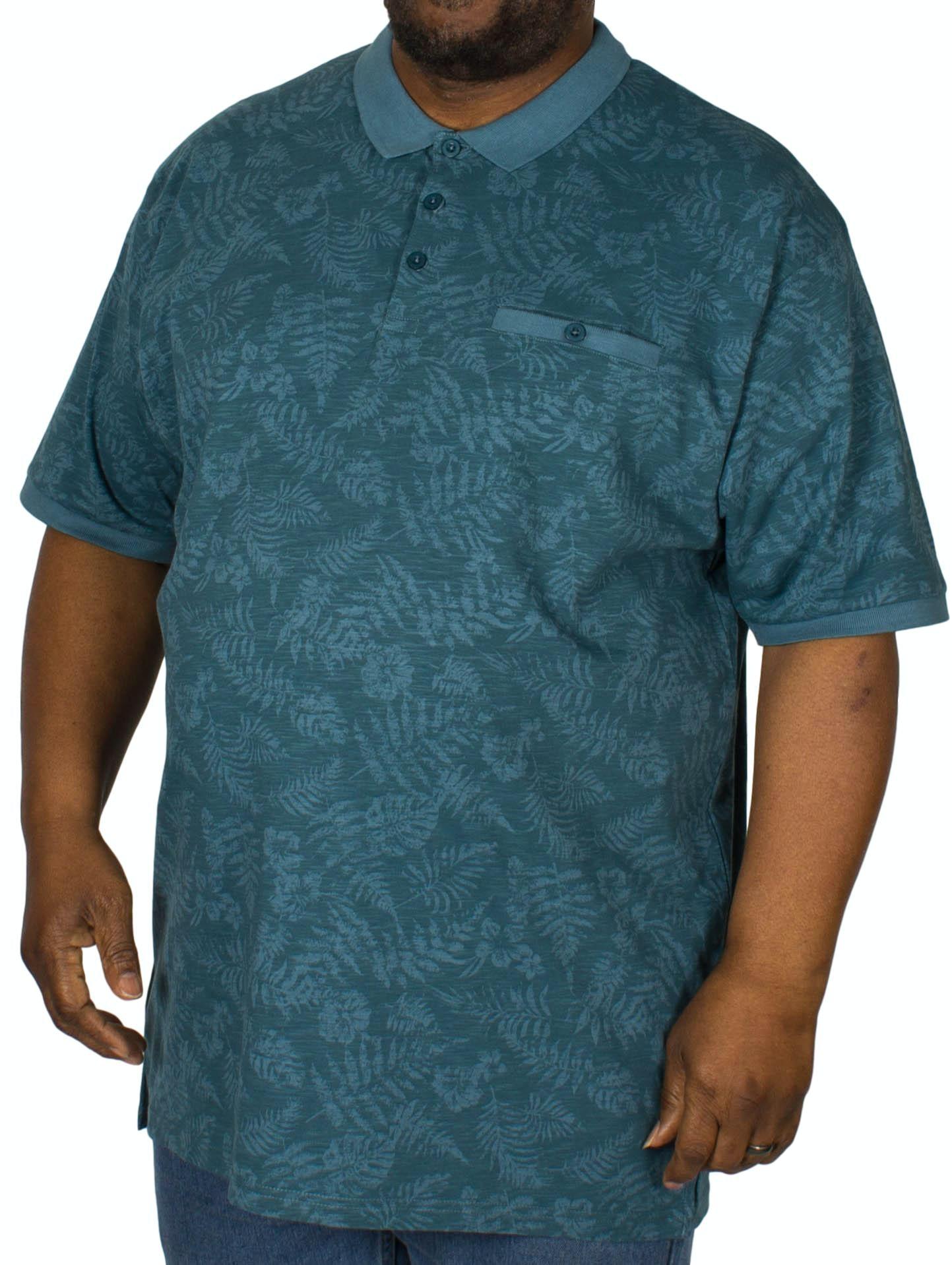 KAM Leaf Print Polo Shirt Denim