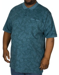 KAM Leaf Print Polo Shirt Denim