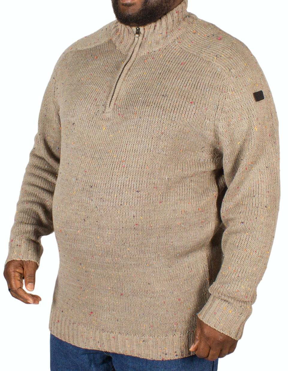 Replika Half Zip Speckled Sweater Grey