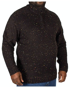 Replika Half Zip Speckled Sweater Black