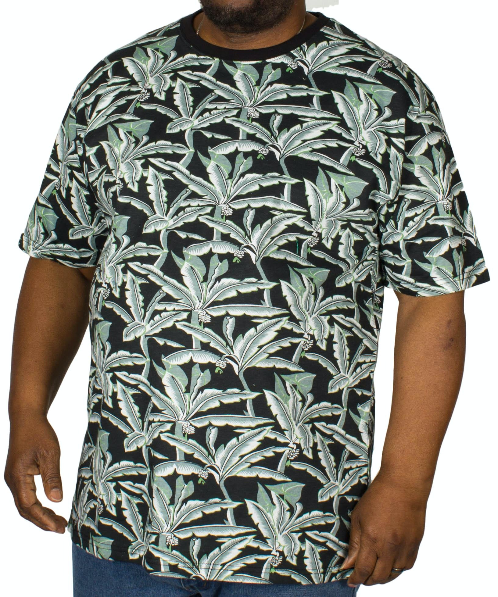 KAM Floral Print T-Shirt Black