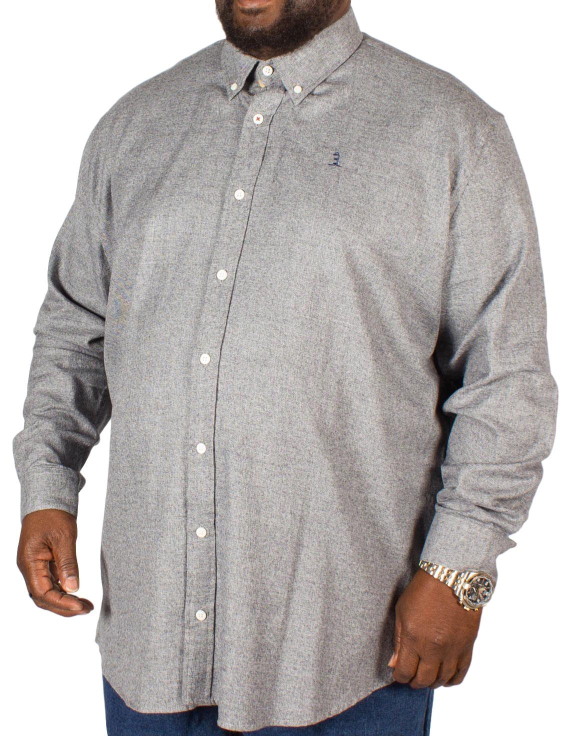 Replika Long Sleeve Plain Shirt Grey