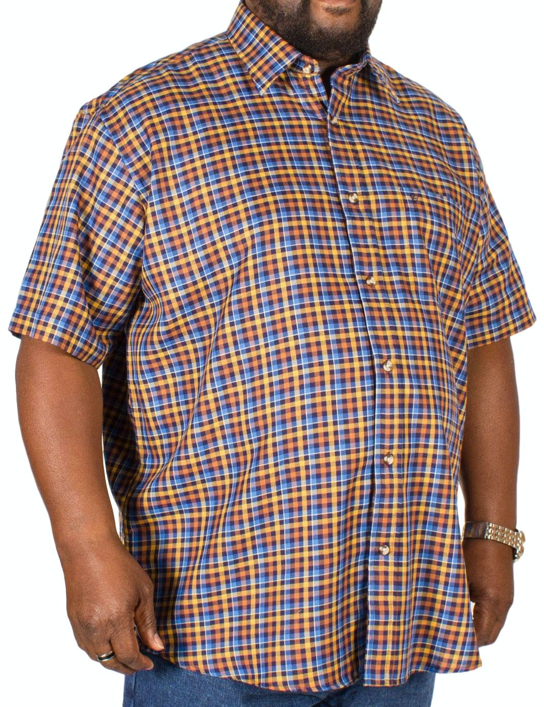 Cotton Valley Short Sleeve Twill Check Shirt Blue/Tan