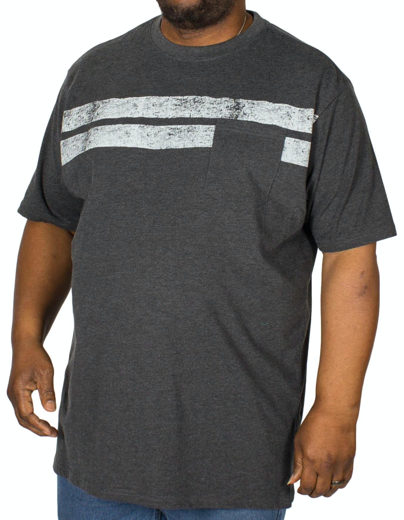 KAM Stripe Print T-Shirt Charcoal