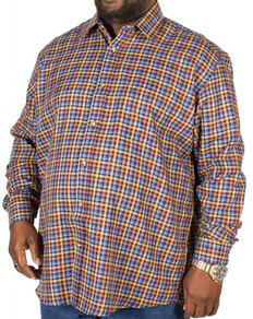 Cotton Valley Long Sleeve Twill Check Shirt Blue/Tan