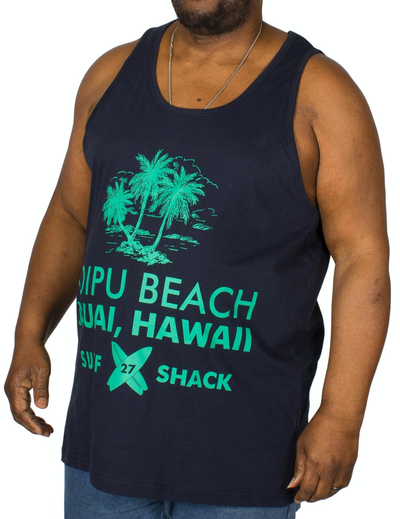 KAM Hawaii Printed Vest Navy