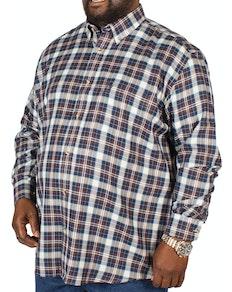 Cotton Valley Small Herringbone Print Check Shirt Navy