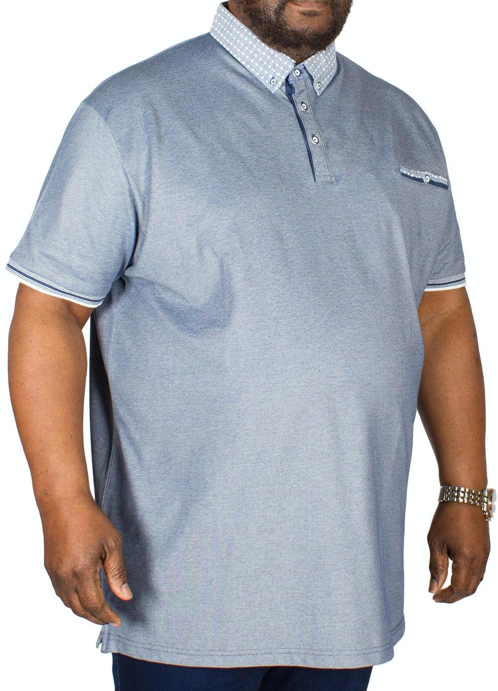 D555 Journey Fine Melange Pique Polo Shirt Navy