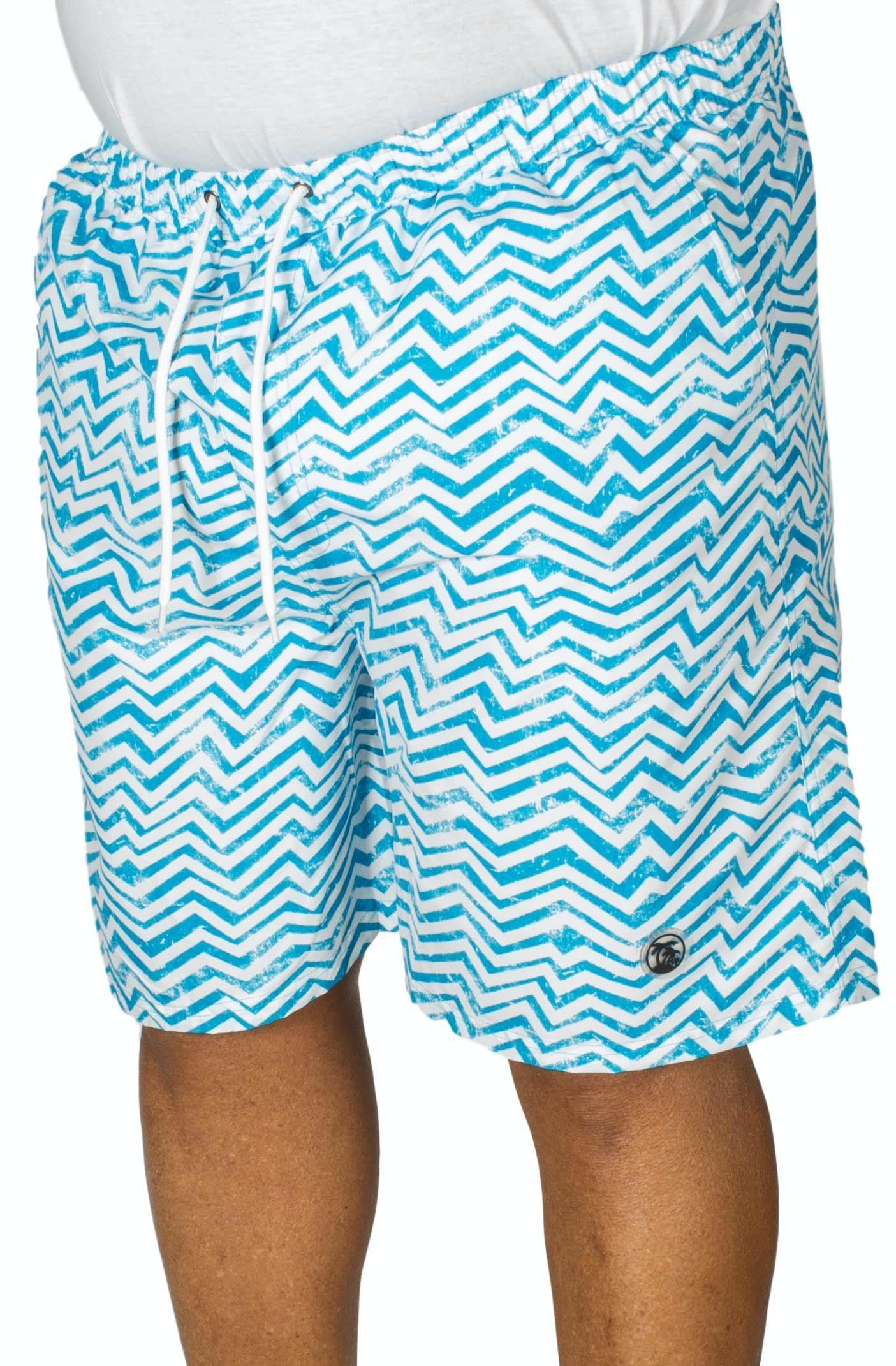 Espionage Zig Zag Print Swim Shorts Royal/White