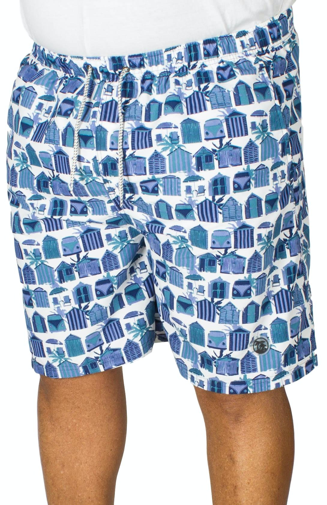Espionage Beach Hut Print Swim Shorts Blue/White