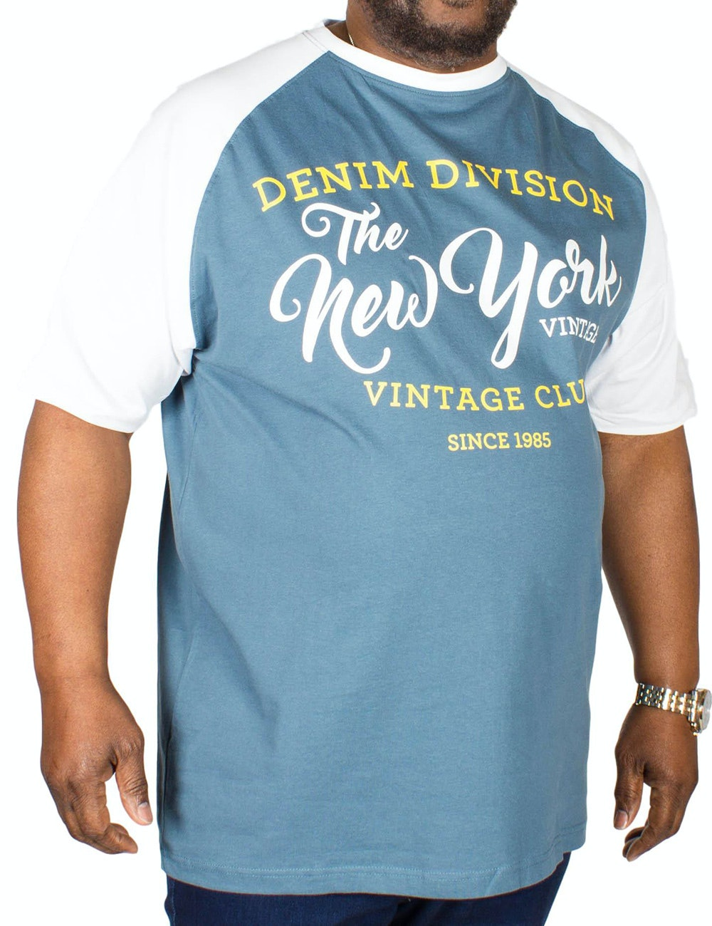 KAM New York Parts Print T-Shirt Denim