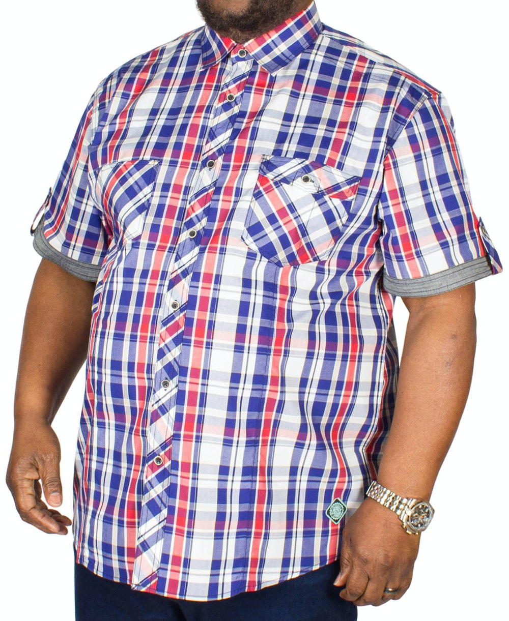 KAM Retro Check Shirt Stone