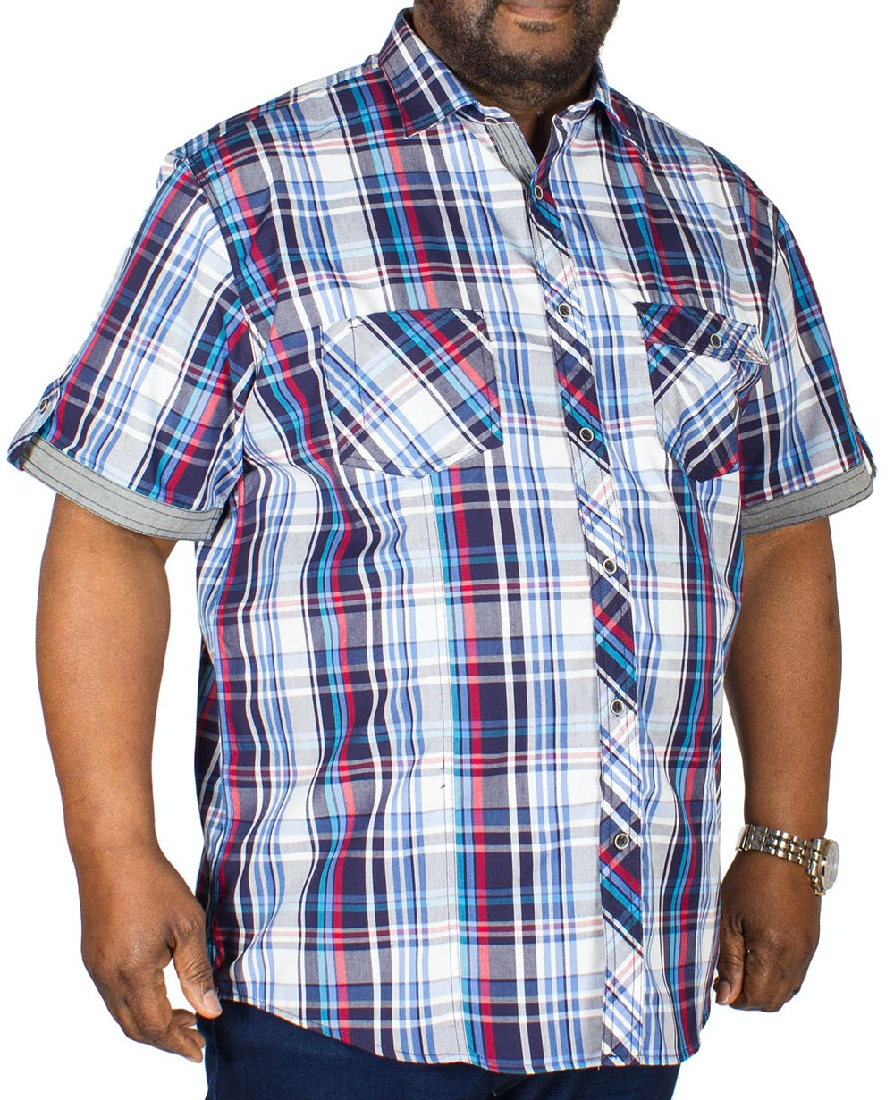 KAM Retro Check Shirt Blue