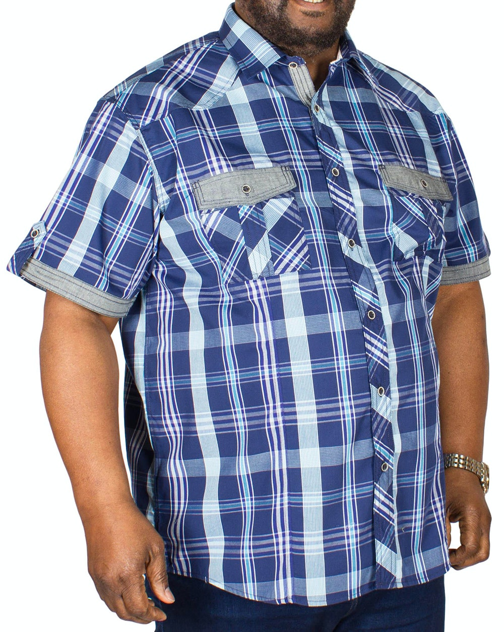 KAM Modern Check Shirt Navy