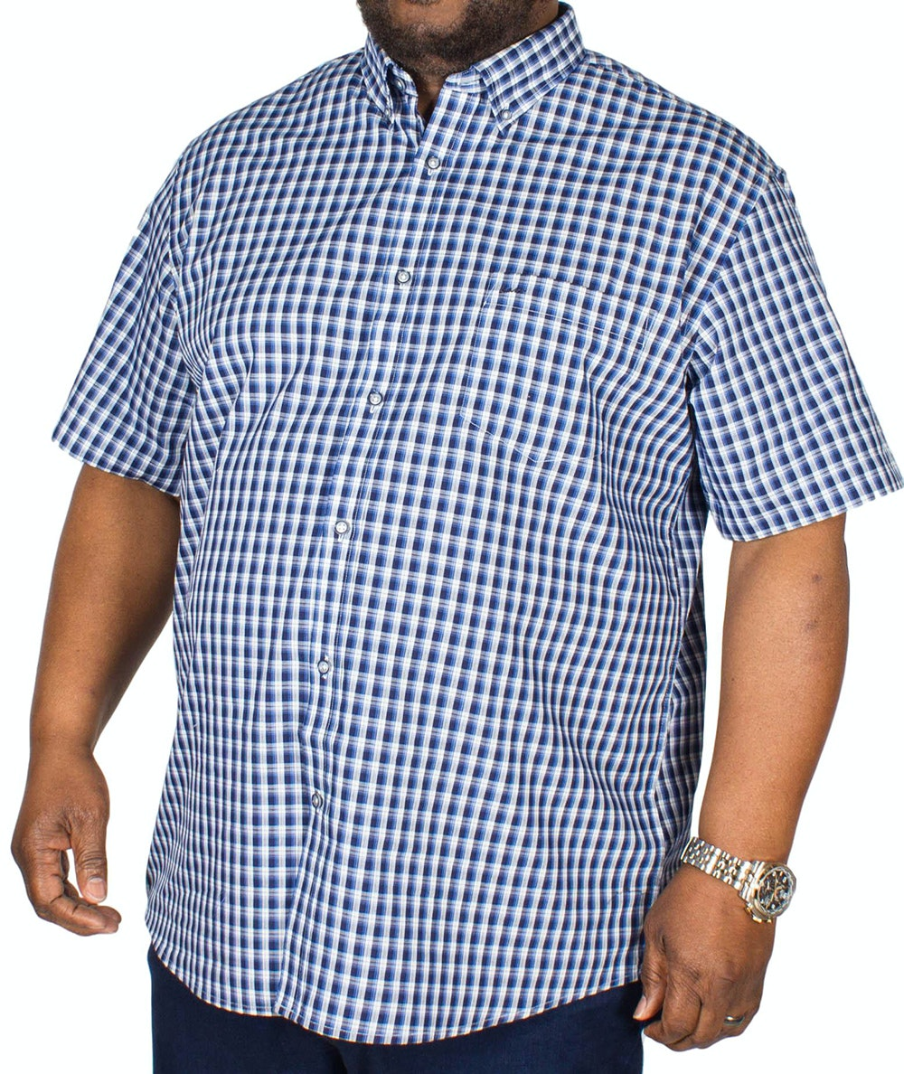 KAM Short Sleeve Classic Check Shirt Navy
