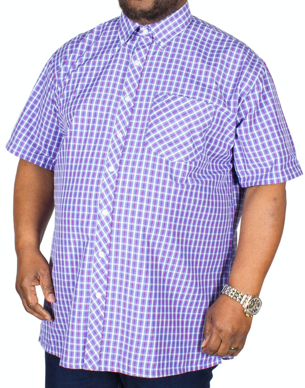 Espionage Short Sleeve Check Shirt Blue/Raspberry