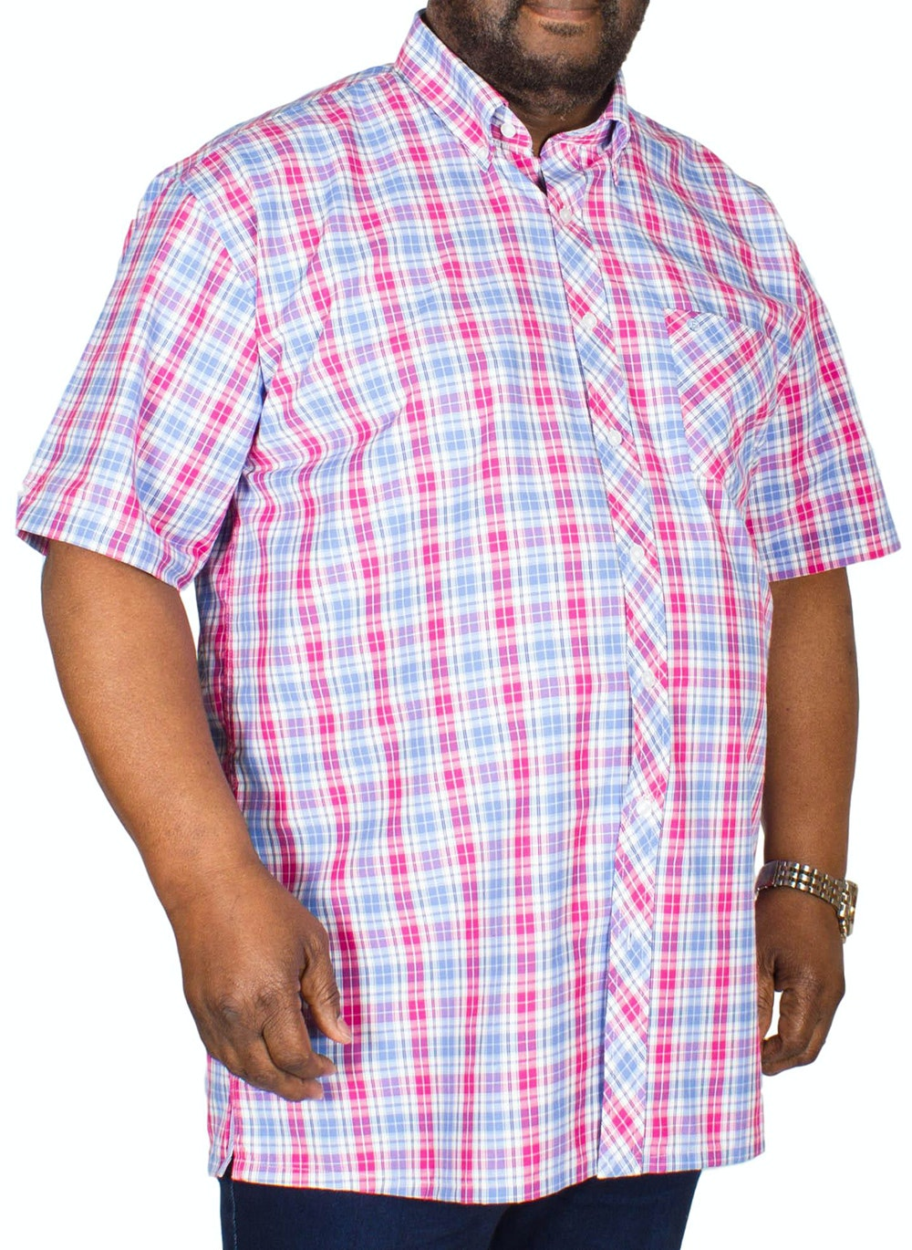 Espionage Short Sleeve Check Shirt Blue/Pink