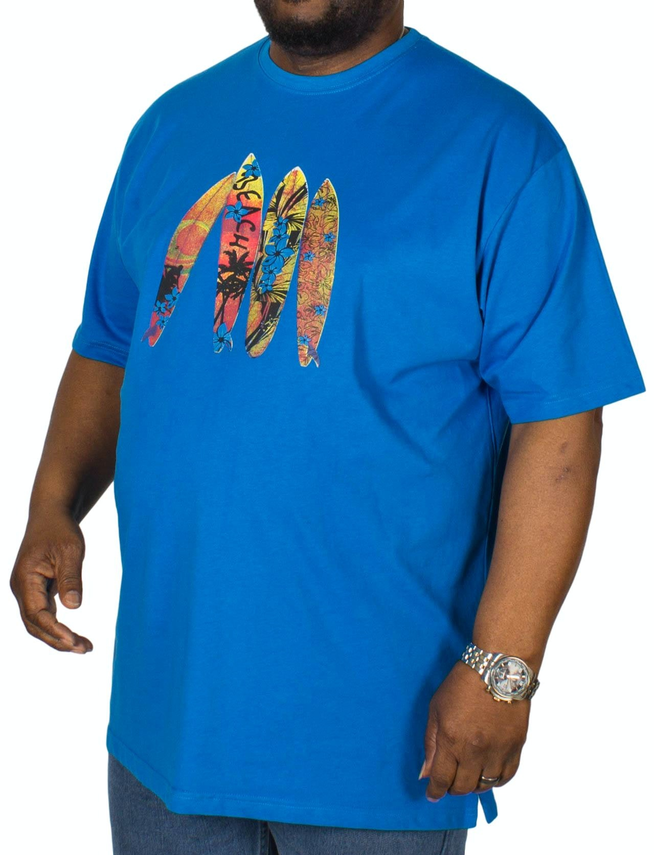 Cotton Valley Surfboard Printed T-Shirt Blue