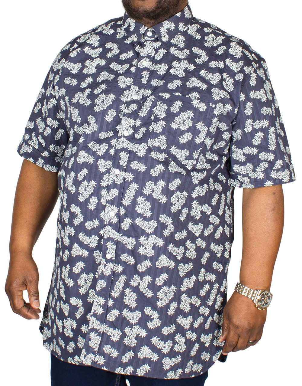 Espionage Pineapple Seersucker Shirt Navy
