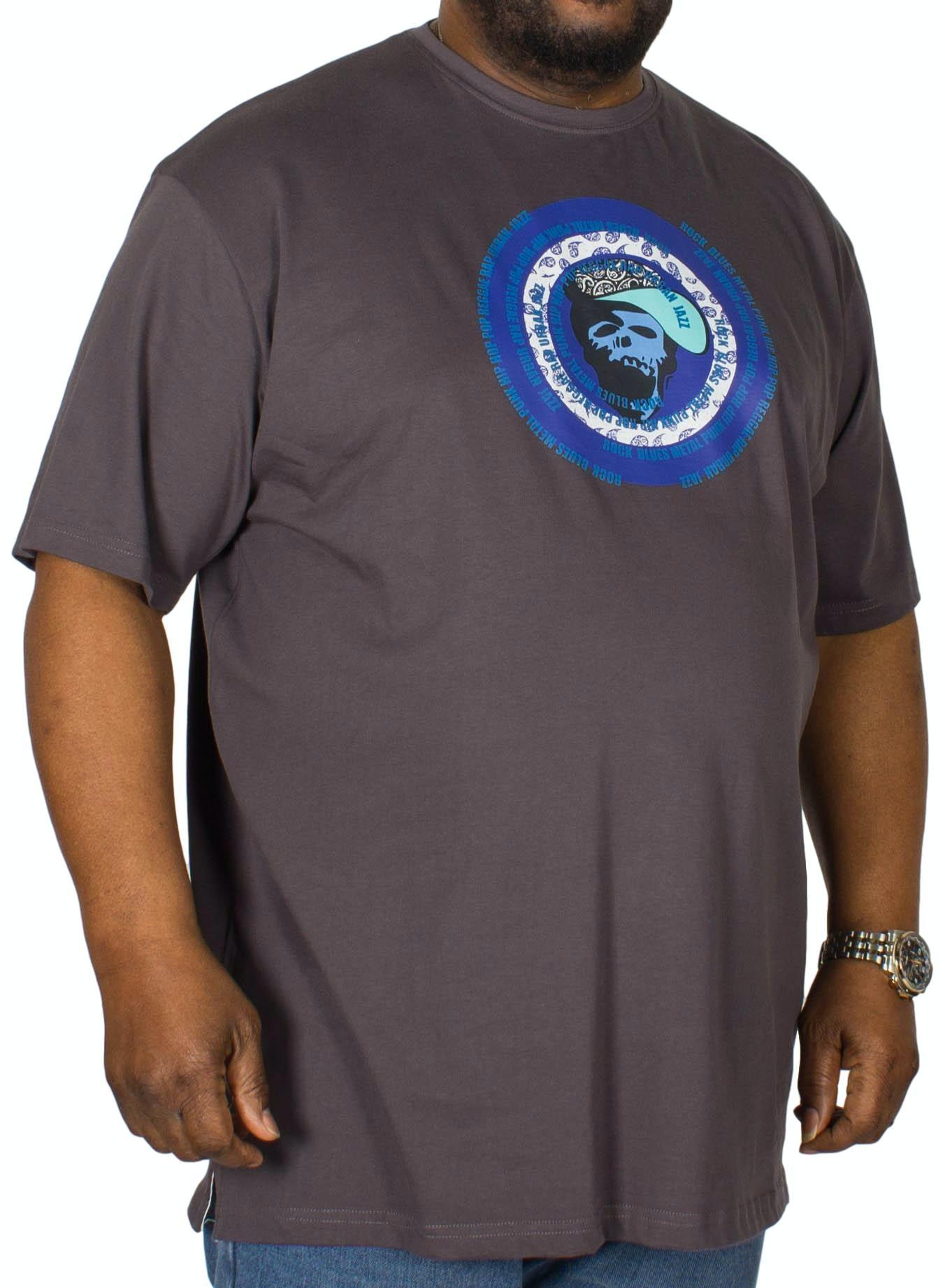 Cotton Valley Paisley Circles Printed T-Shirt Charcoal