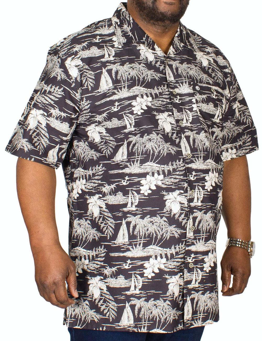 Espionage Rever Collar Hawaiian Shirt Black