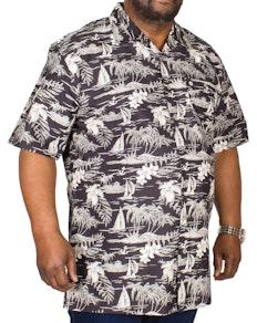 Espionage Rever Collar Hawaiian Shirt Black