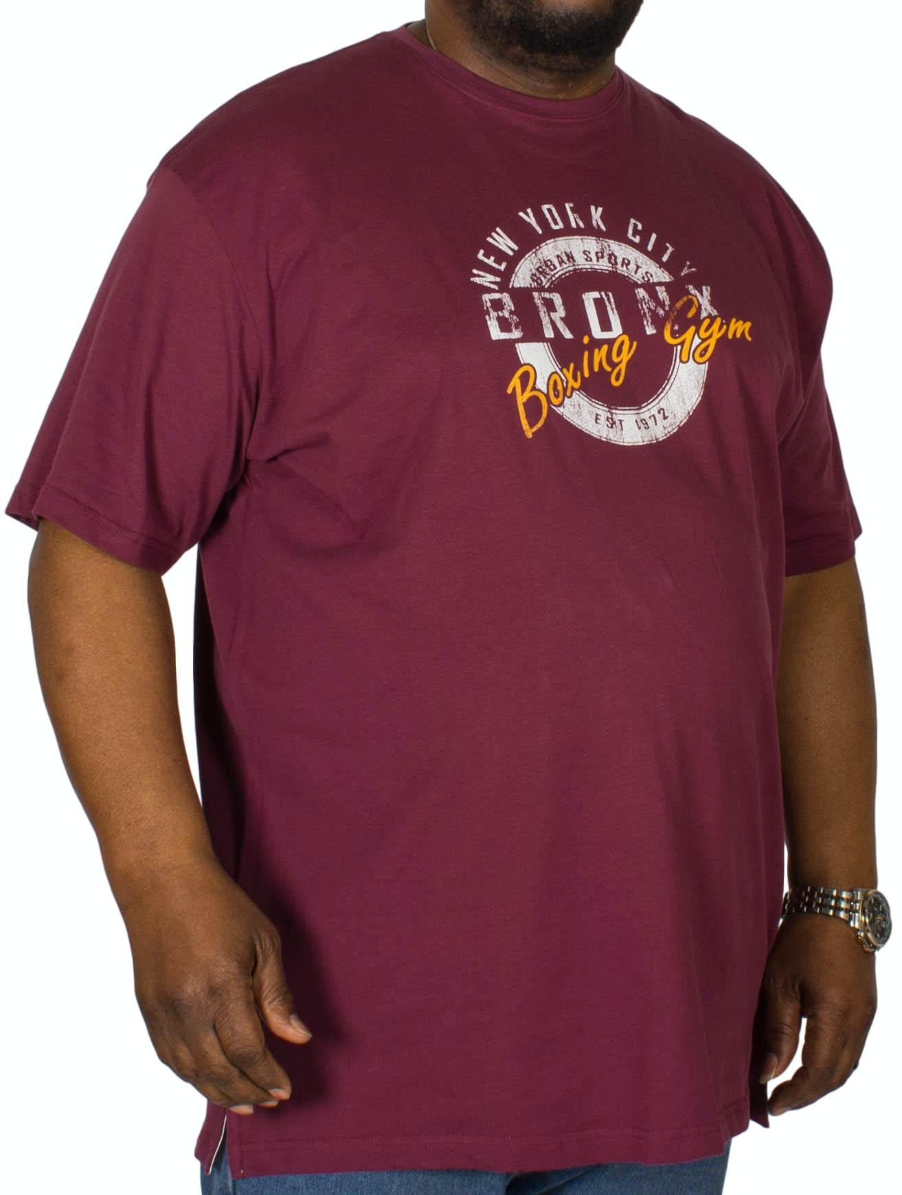 Cotton Valley Bronx Boxing Printed T-Shirt Wine