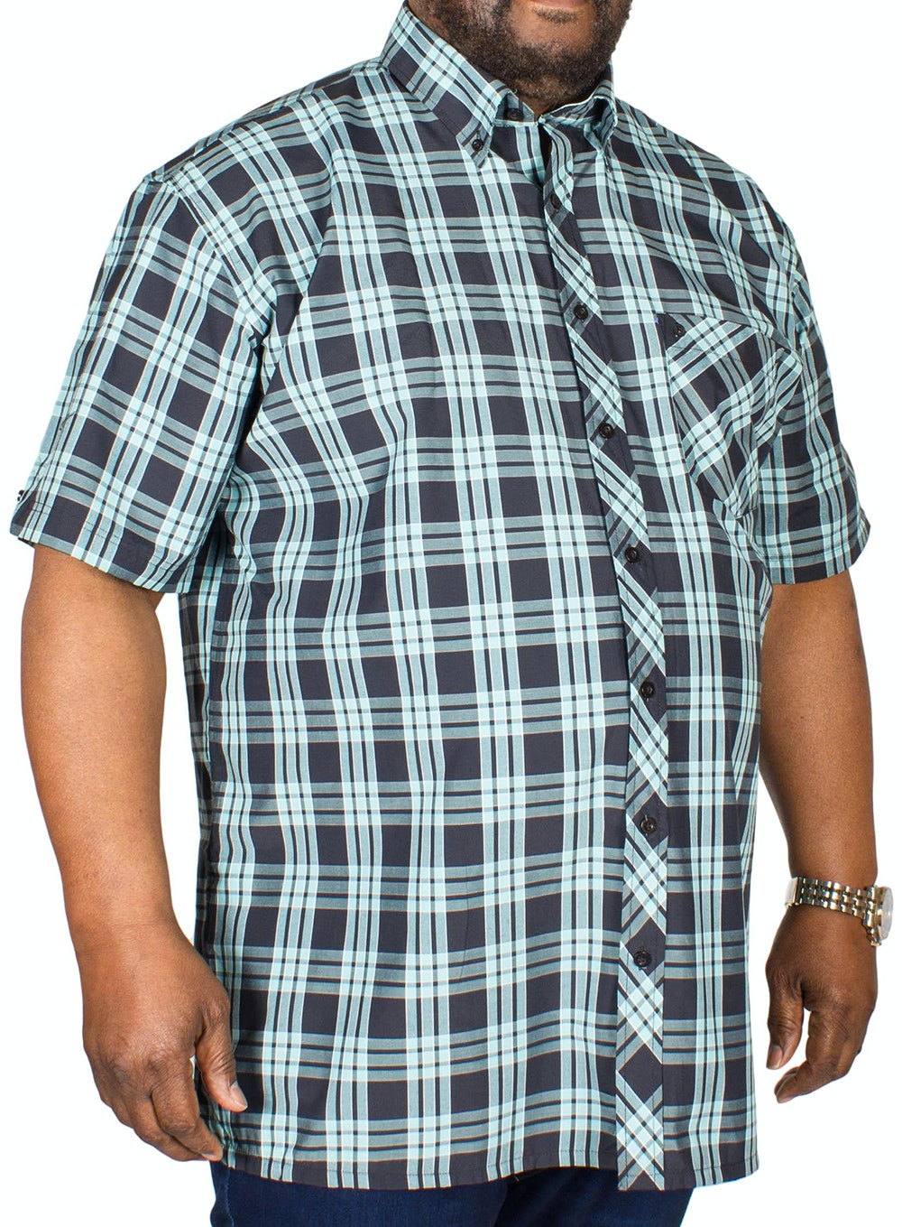 Espionage Short Sleeve Check Shirt Navy