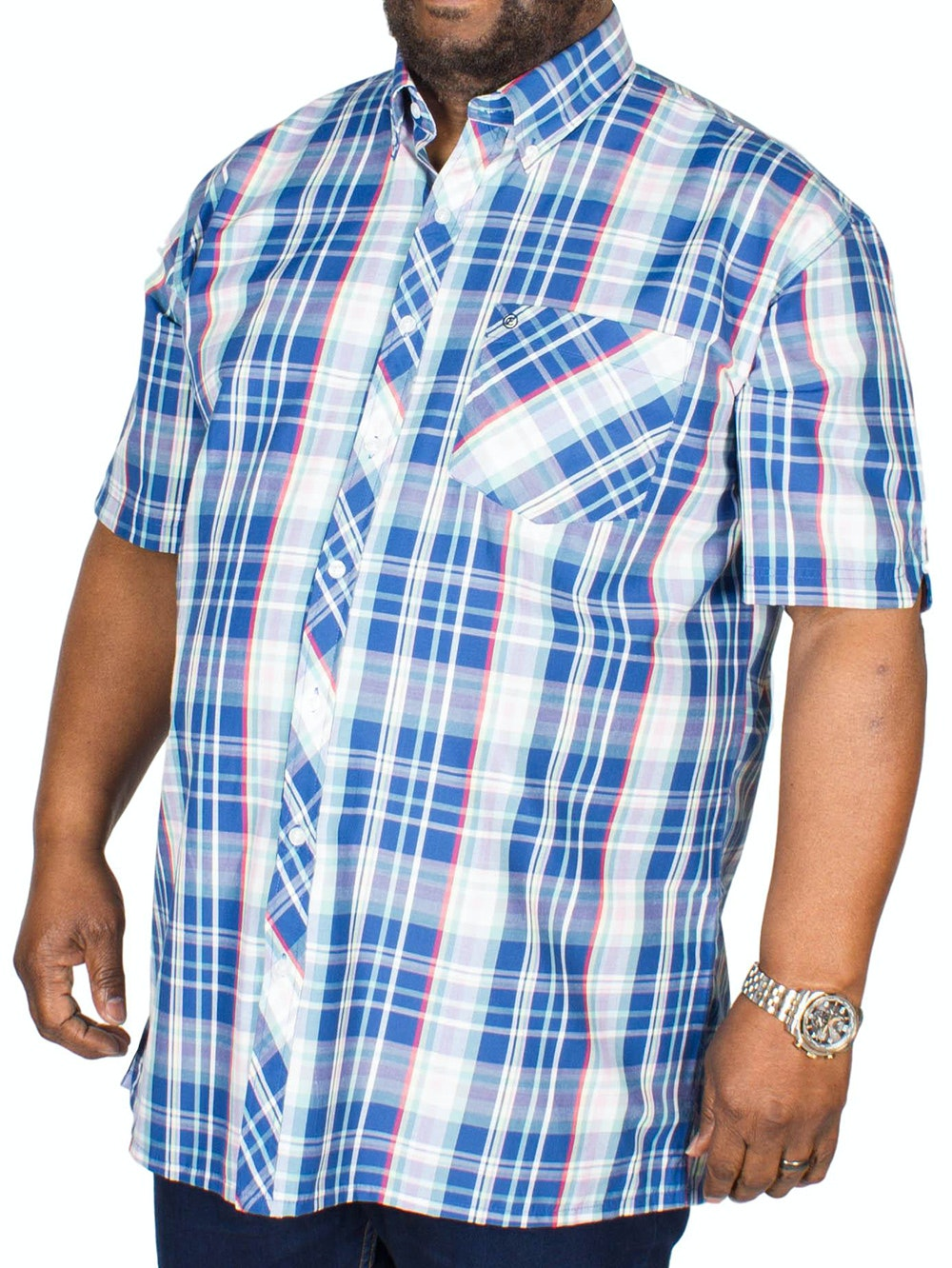 Espionage Short Sleeve Check Shirt Blue