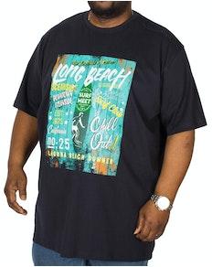 Espionage Long Beach Printed T-Shirt Navy