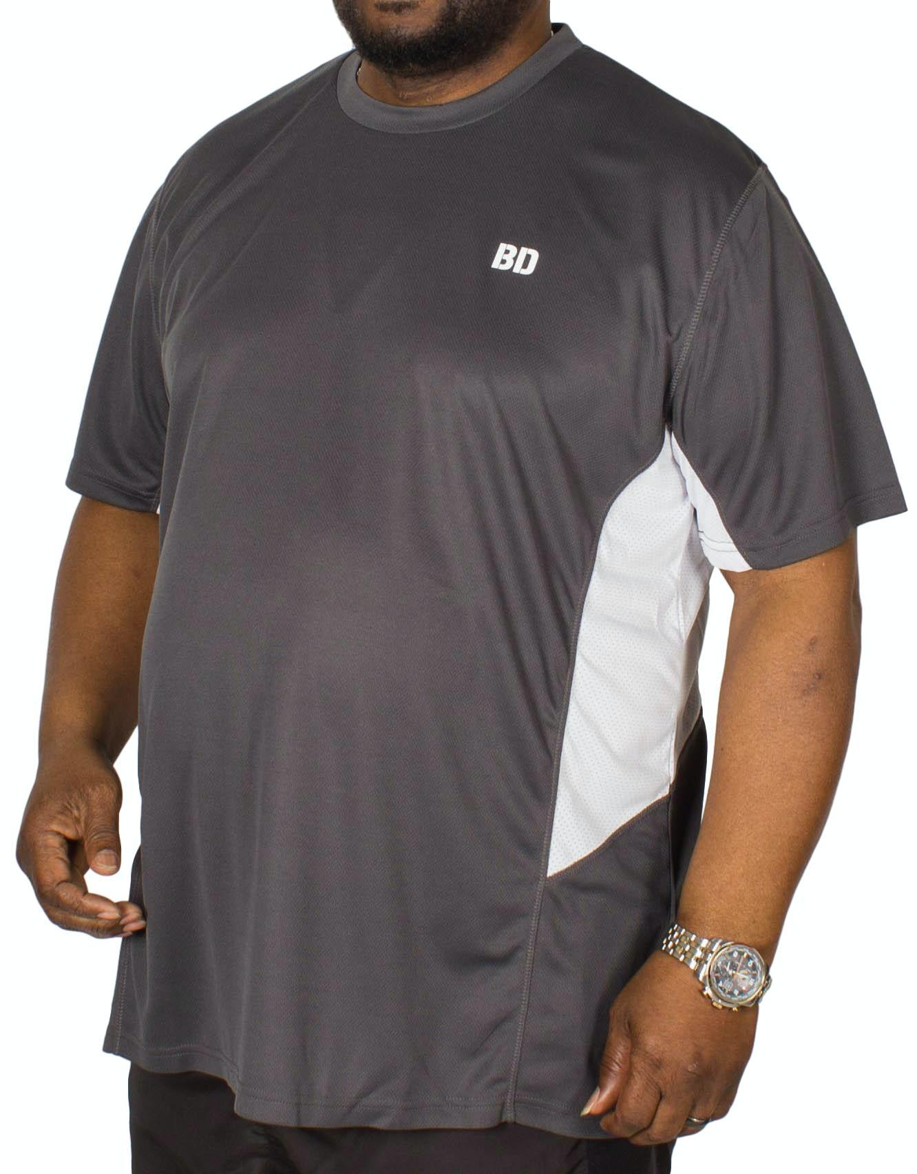 Bigdude Vented Stretch Gym T-Shirt Charcoal