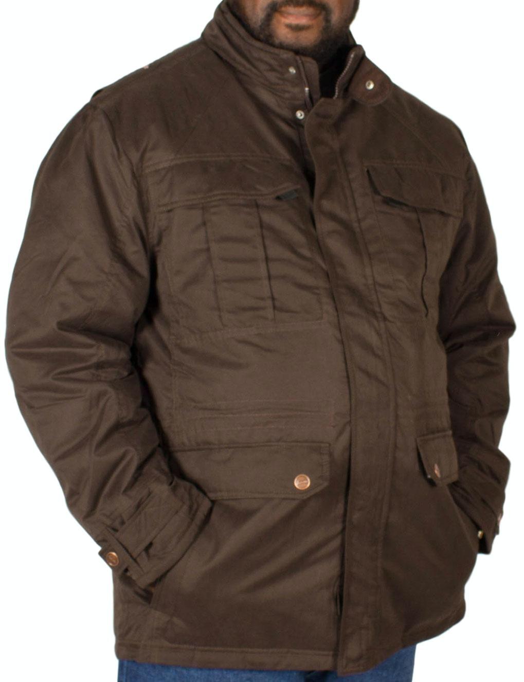 KAM Padded Suede Coat Brown