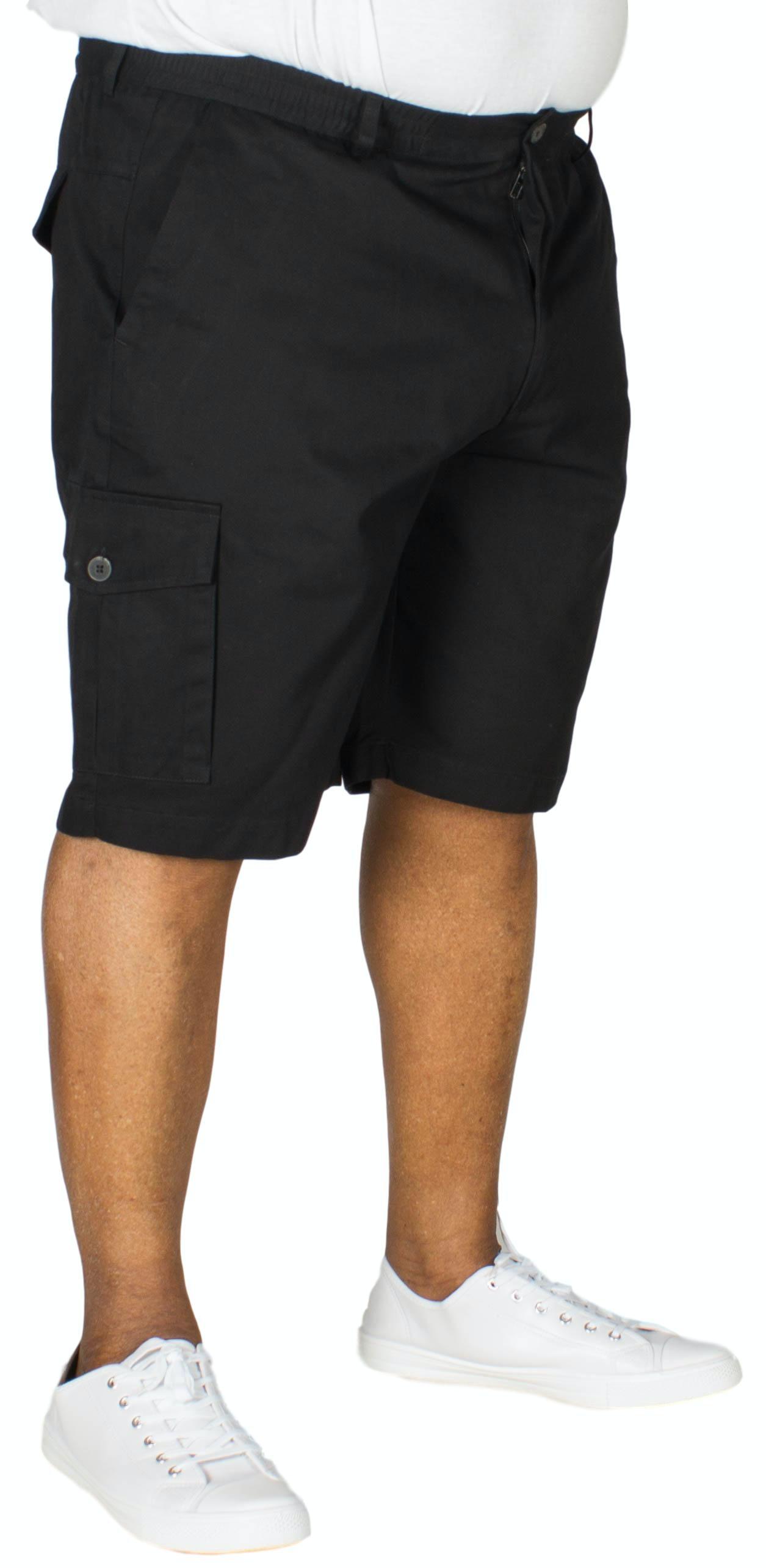 Bigdude Elasticated Waist Cargo Shorts Black
