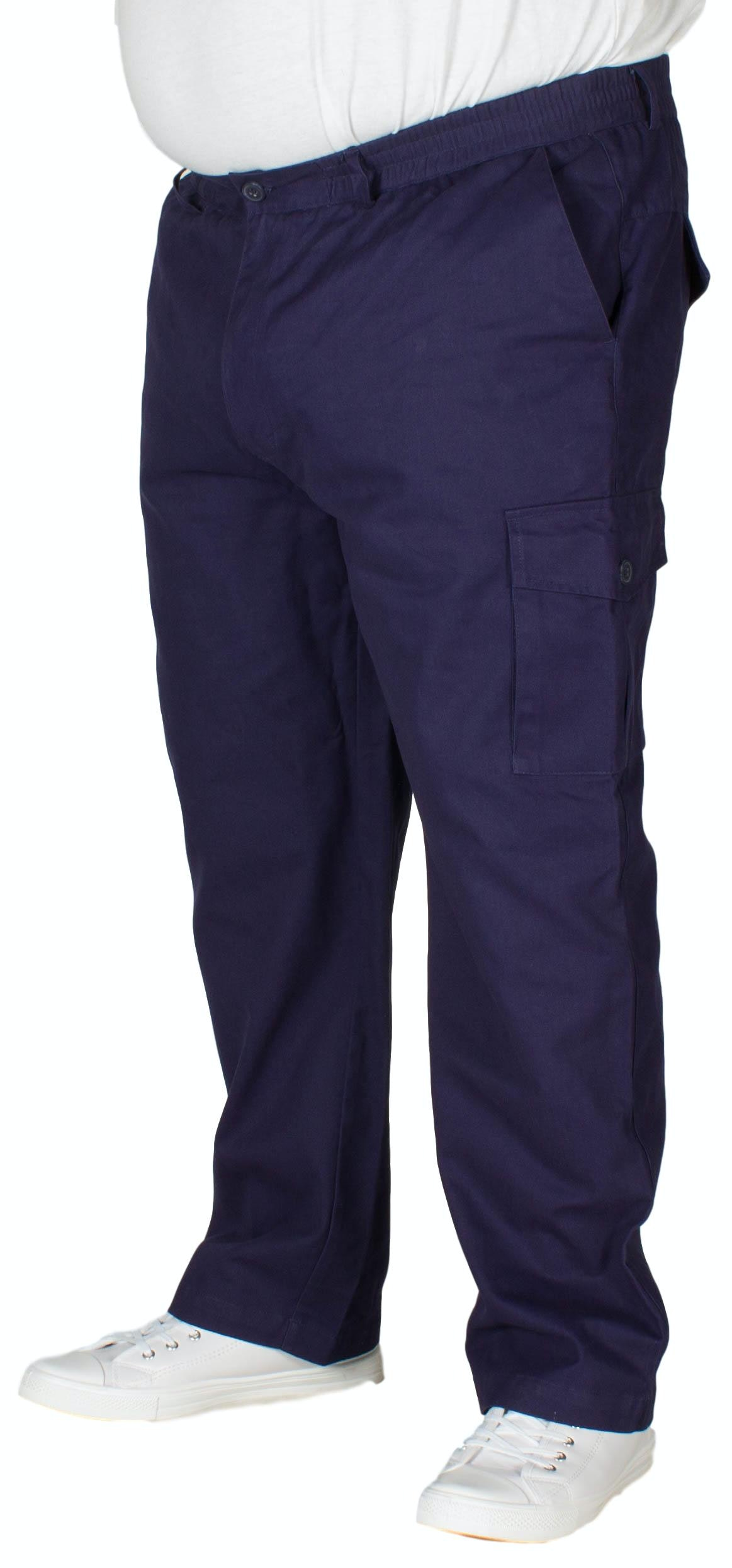 Bigdude Elasticated Waist Cargo Trousers Navy