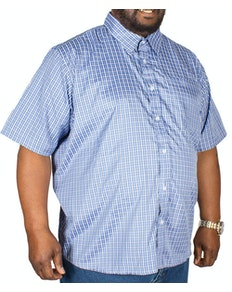 Pierre Roche Short Sleeve Check Shirt Mid Blue