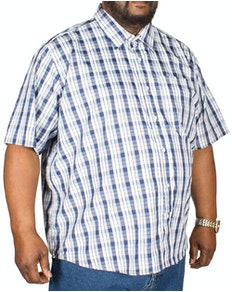 Pierre Roche Short Sleeve Check Shirt Navy
