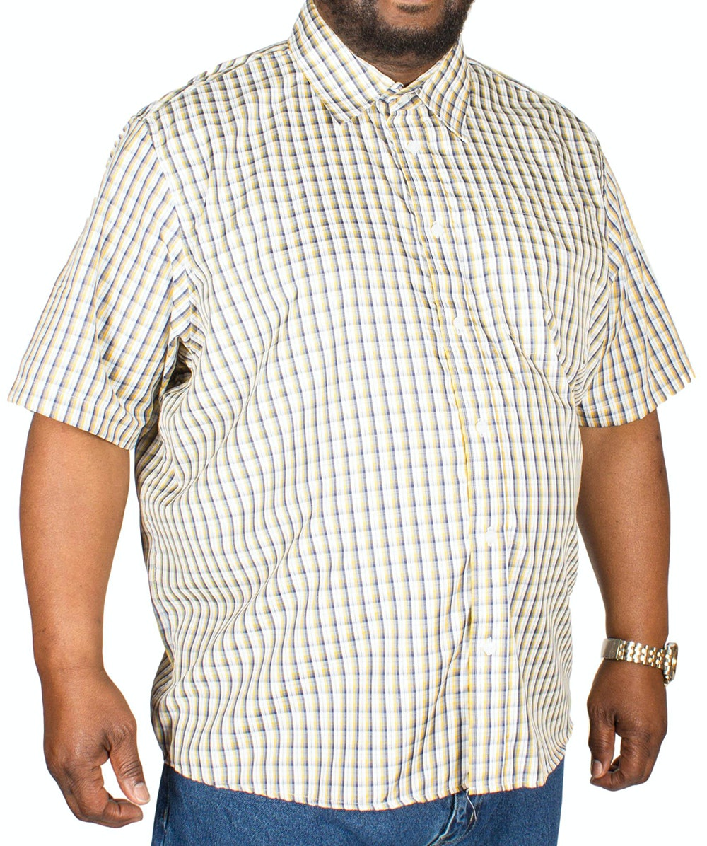 Pierre Roche Short Sleeve Check Shirt Tan