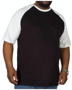 Bigdude Contrast Raglan Sleeve T-Shirt Black/White