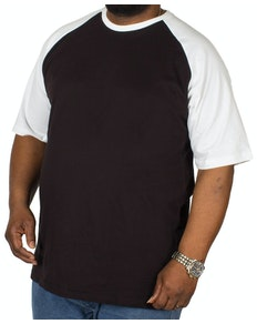 Bigdude Contrast Raglan Sleeve T-Shirt Black/White Tall