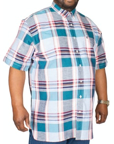 Espionage Linen Check Shirt Coral/Turquoise
