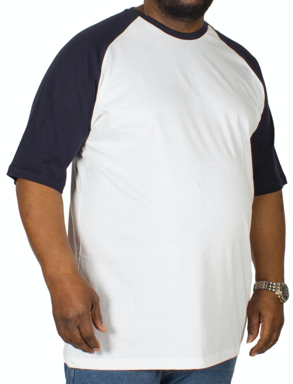 Bigdude Contrast Raglan Sleeve T-Shirt White/Navy Tall