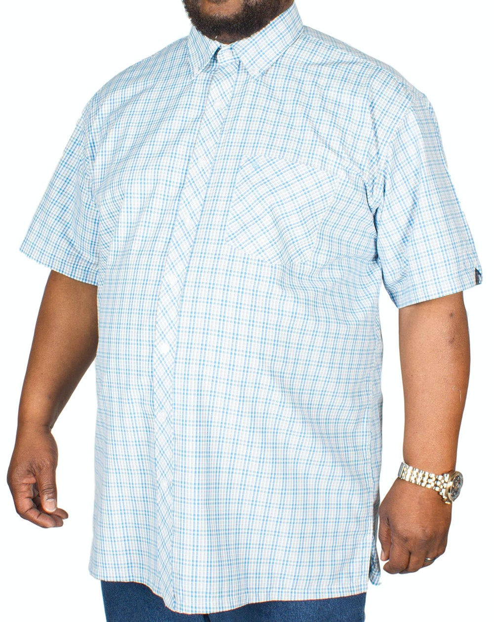 Espionage Short Sleeve Check Shirt Turquoise