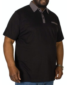 Bigdude Contrast Jersey Polo Shirt Black Tall
