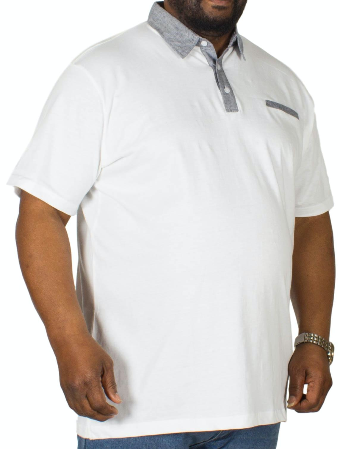 Bigdude Contrast Jersey Polo Shirt White Tall
