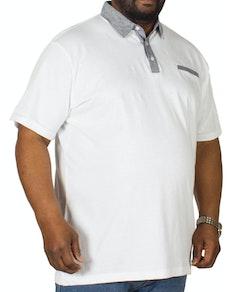 Bigdude Contrast Jersey Polo Shirt White Tall