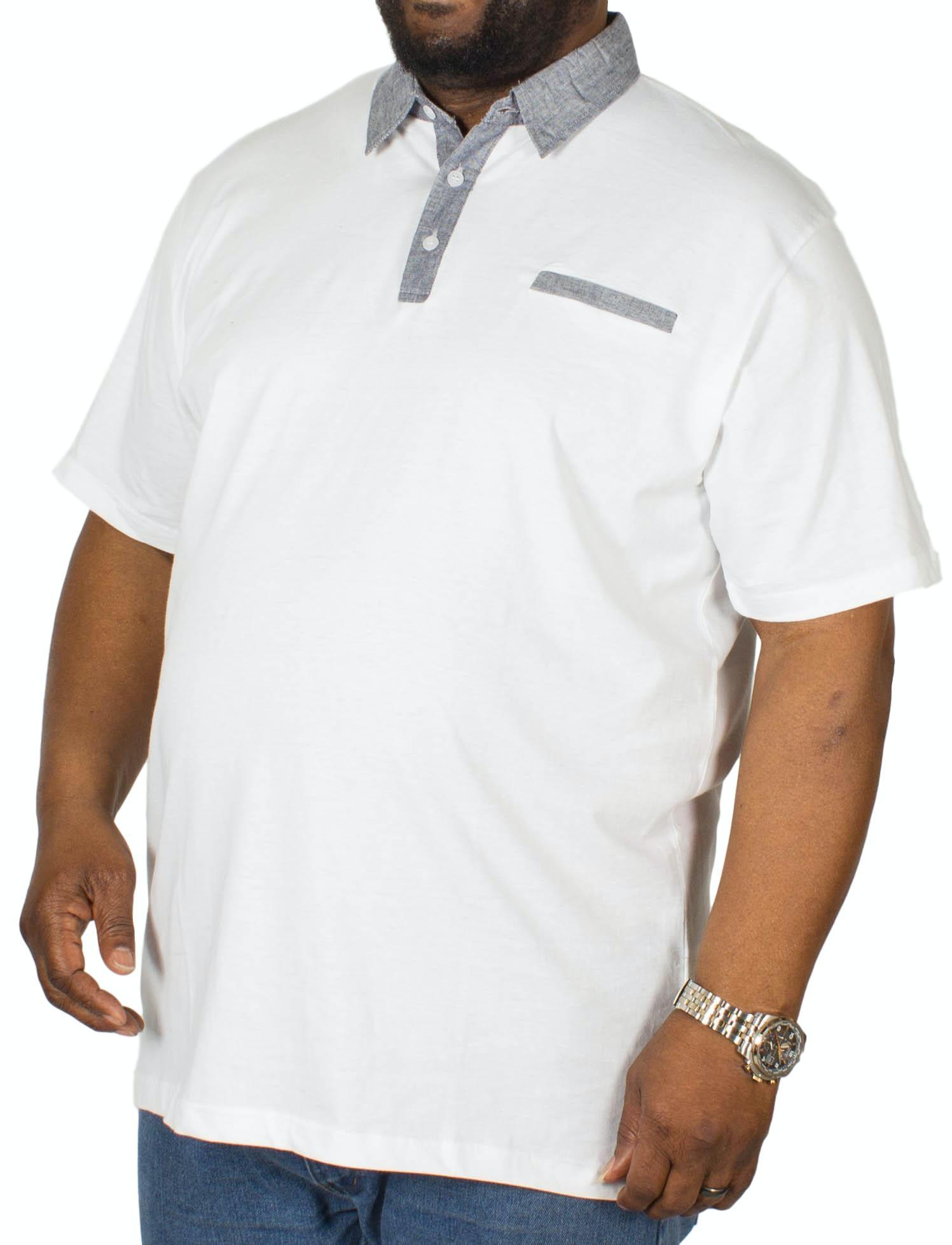 Bigdude Contrast Jersey Polo Shirt White