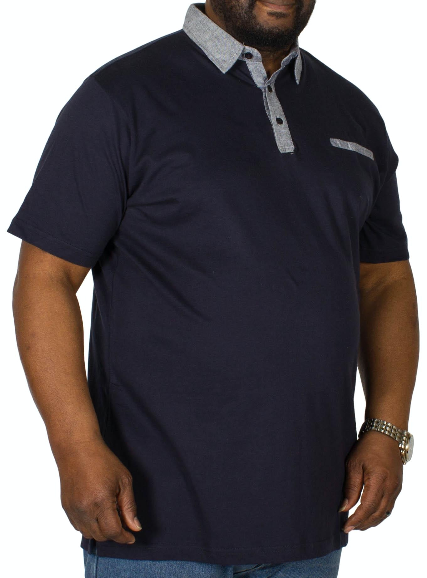 Bigdude Contrast Jersey Polo Shirt Navy Tall
